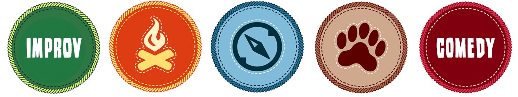 Illustration of merit badges that say Improv Comedy